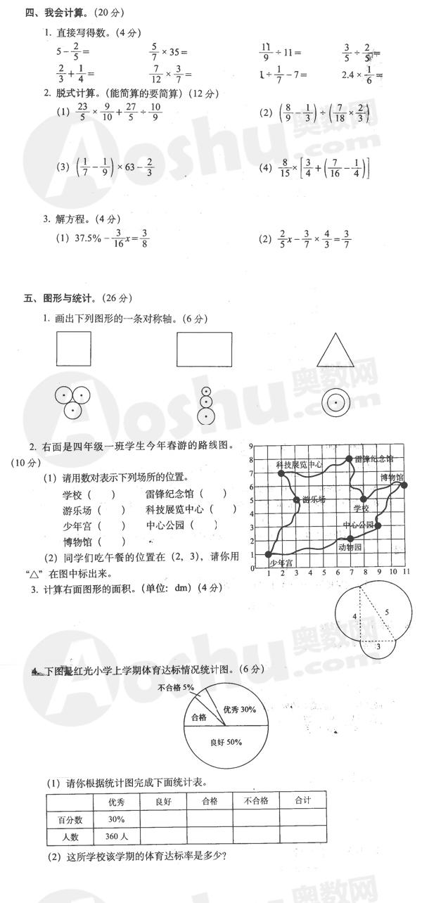 六年级上册试卷答案_小学六年级上册数学期末试卷及答案1(人教版) --小学频道 ...