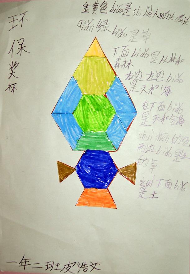 小学一年级数学手抄报:环保奖杯
