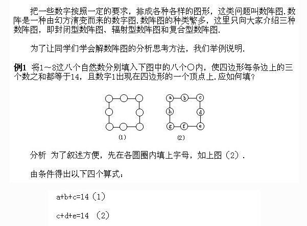 一道小学四年级的奥数题_奥数题大全之小学四年级奥数题及答案:数阵图 --小学频道--中国 ...