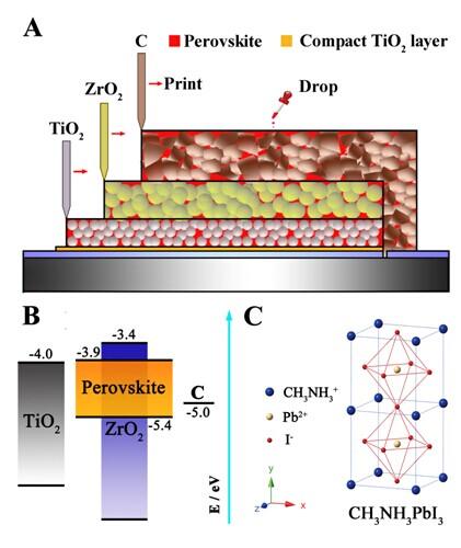 图a,全印刷介观钙钛矿太阳能电池结构示意图;b,能级示意图;c,钙钛矿