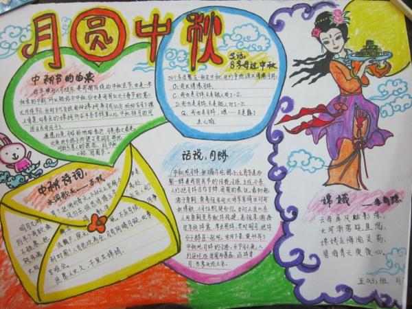 中秋节手抄报:中秋节手抄报版面设计图大全