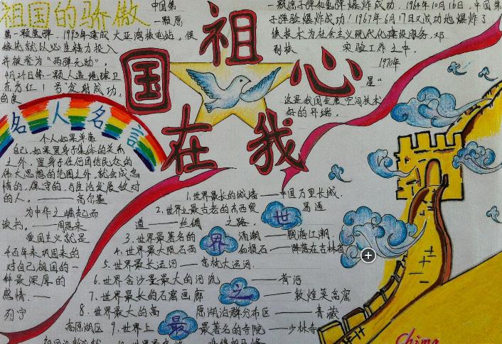 国庆节手抄报:祖国在我心中手抄报版面设计图大全