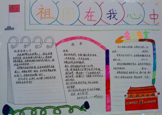 国庆节手抄报:祖国在我心中手抄报版面设计图