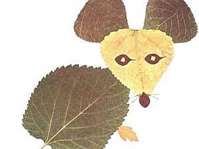 树叶贴画作品欣赏 讲诚信的小老鼠 内容 图片