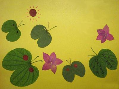树叶贴画作品欣赏 蓝蝴蝶和红蝴蝶 内容 图片
