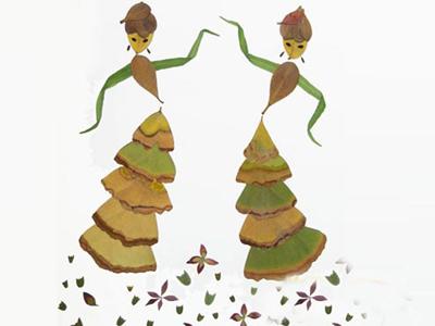 树叶贴画作品欣赏 爱跳舞的女孩 内容 图片