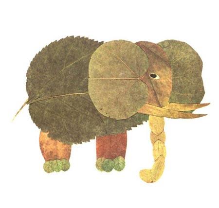 树叶贴画作品欣赏 大象 内容 图片