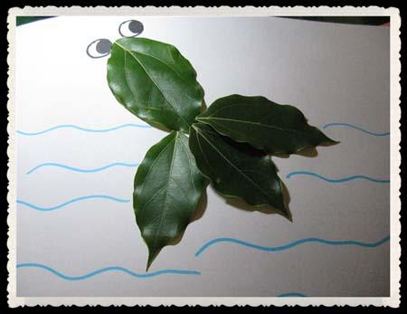 树叶贴画作品欣赏 一只可爱的小金鱼 内容 图片