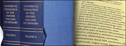 The new historical thesaurus and an image of what a thesaurus looks like inside